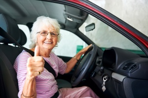 Confident driving grandma